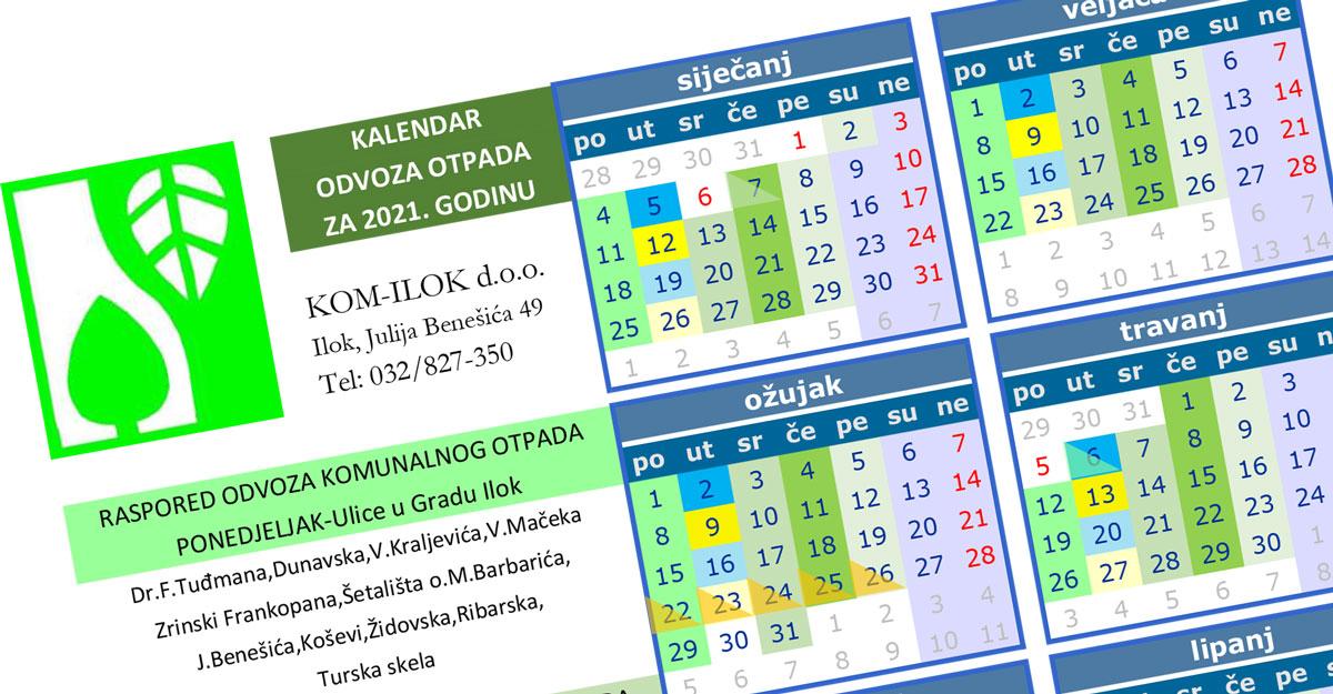 Kalendar odvoza otpada za 2021. godinu